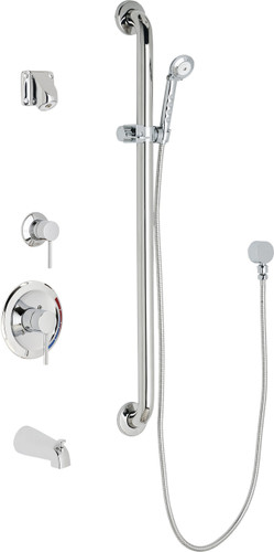 Chicago Faucets (SH-PB1-15-124)  Pressure Balancing Tub and Shower Valve with Shower Head