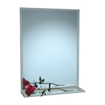 "ASI (10-0625-3024) Mirror - Stainless Steel, Chan-Lok Frame w/ Shelf - Plate Glass - 30""W X 24""H"
