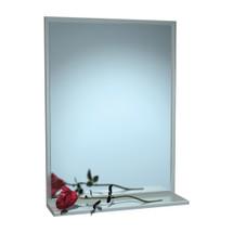 "ASI (10-0625-3630) Mirror - Stainless Steel, Chan-Lok Frame w/ Shelf - Plate Glass - 36""W X 30""H"