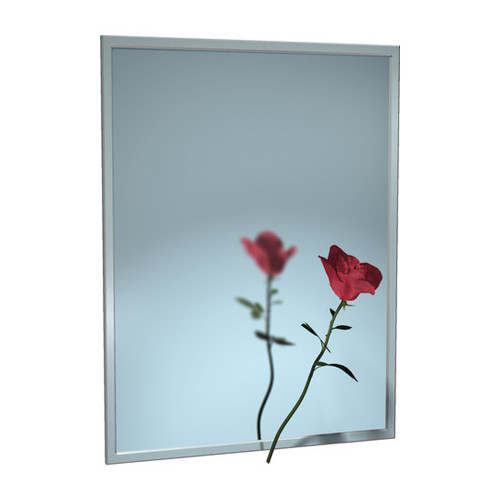 """ASI (10-0620-1442) Mirror - Stainless Steel, Chan-Lok Frame - Plate Glass - 14""""W X 42""""H"""