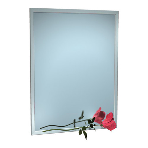 """ASI (10-0600-3636) Mirror - Stainless Steel, Inter-Lok Angle Frame - Plate Glass - 36""""W X 36""""H"""