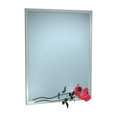 """ASI (10-0600-5222) Mirror - Stainless Steel, Inter-Lok Angle Frame - Plate Glass - 52""""W X 22""""H"""