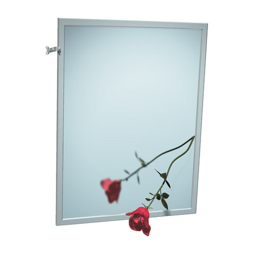 "ASI (10-0600-T1630) Mirror - Adjustable Tilt, Stainless Steel Inter-Lok Frame - Plate Glass - 16""W X 30""H"