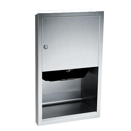ASI (10-045210A-6) Automatic Roll Paper Towel Dispenser, Battery Operated - Semi Recessed