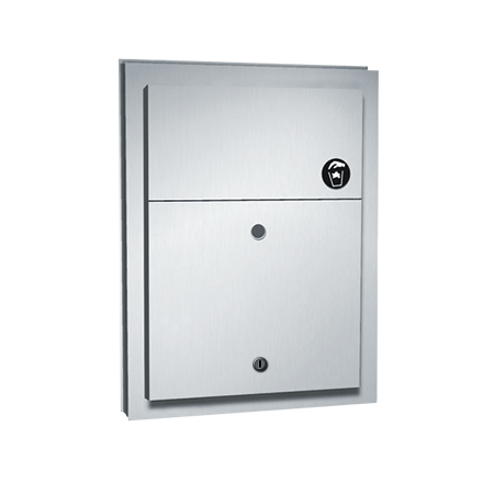 ASI (10-0472-1) Sanitary Napkin Disposal (Dual Access) with Lock - Partition Mounted