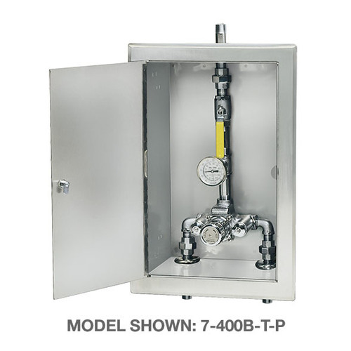 Symmons (7-1000BW) TempControl Thermostatic Mixing Valve and Piping Assembly in Cabinet with Cold Water By-pass