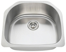 Polaris P1242-16 D-Bowl Stainless Steel Kitchen Sink