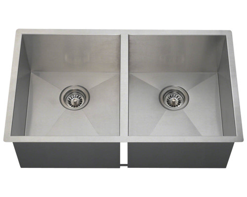 Polaris PD2233 Double Equal Rectangular Stainless Steel Kitchen Sink