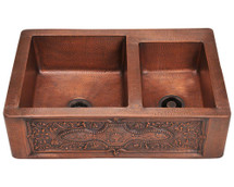 Polaris P119 Offset Double Bowl Copper Apron Sink