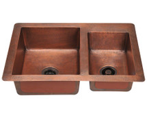 Polaris P109 Offset Double Bowl Copper Sink