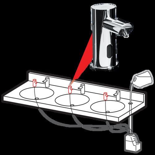 ASI (10-0393-6-1AC) EZ Fill - Top Fill, MULTI-FEED FOAM Soap Dispenser Head - 6 Pack SKU - Includes Remote Control - (AC Plug In) - POLISHED FINISH