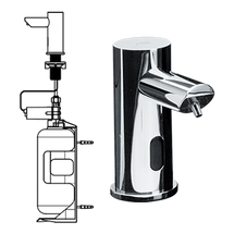 ASI (10-0394-6-1AC) EZ Fill - Individual, STAND-ALONE FOAM Soap Dispenser w/ 1 L Bottle - 6 Pack SKU - Includes Remote Control - (AC Plug In) - POLISHED FINISH