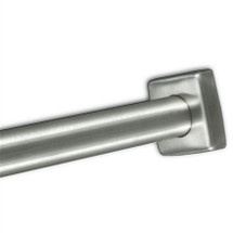 """Brey Krause (S-4647-SS) 1"""" Square Stainless Steel Heavy Duty Shower Rod Flange - Concealed Mount (Pair), Satin Stainless Finish"""