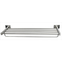"Brey Krause (S-4574-18-BS) Towel Supply Shelf - with bar, 18"", Bright Stainless Finish"