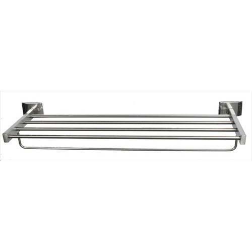 "Brey Krause (S-4574-24-BS) Towel Supply Shelf - with bar, 24"", Bright Stainless Finish"