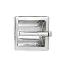 Brey Krause (S-2650-SS) Recessed Toilet Paper Holder - Chrome Plastic Roller, Satin Stainless Finish