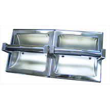 Brey Krause (S-2659-BS) Recessed Double Toilet Paper Holder - Horizontal, Bright Stainless Finish