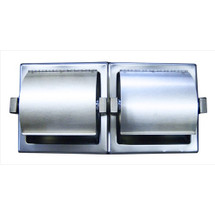 Brey Krause (S-2659-01-BS) Recessed Double Toilet Paper Holder with Hinged Hood - Horizontal, Bright Stainless Finish