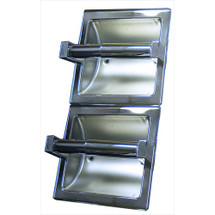 Brey Krause (S-2661-BS) Double Toilet Paper Holder - Vertical, Bright Stainless Finish