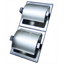 Brey Krause (S-2661-01-BS) Double Toilet Paper Holder with Hinged Hood - Vertical, Bright Stainless Finish