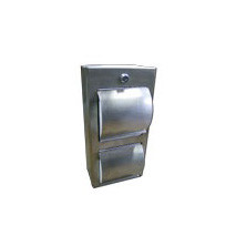 Brey Krause (C-1040-01-SS) Locking Double Roll Toilet Tissue Dispenser with Hoods - Surface Mounted, Satin Stainless Finish