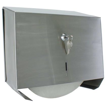Brey Krause (C-1043-SS) Locking Jumbo Toilet Tissue Holder, Satin Stainless Finish