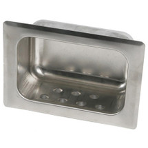 Brey Krause (S-2630-01-BS) Heavy Duty Recessed Soap Dish with Lip - Drywall Clamp, Bright Stainless Finish
