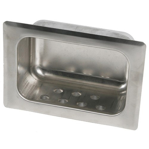 Brey Krause (S-2630-BS) Heavy Duty Recessed Soap Dish with Lip - Wet Wall, Mortar Mount, Bright Stainless Finish