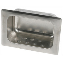 Brey Krause (S-2632-SS) Heavy Duty Recessed Soap Dish without Lip - Wet Wall, Mortar Mount, Satin Stainless Finish