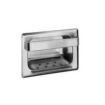 Brey Krause (S-2634-01-BS) Heavy Duty Recessed Soap Dish with Bar and Lip - Drywall Clamp, Bright Stainless Finish