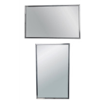 """Brey Krause (T-1024-36-U-SS) Commercial Mirror - 24"""" W X 36"""" H, Horizontal or Vertical Mount, Satin Stainless Frame"""