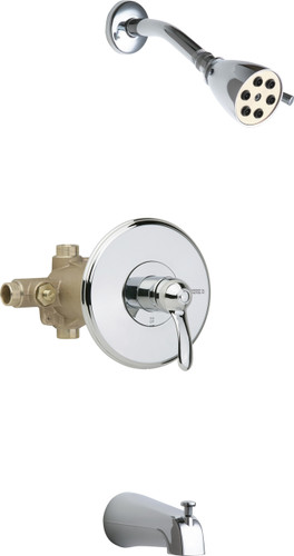 Chicago Faucets (1905-600CP) Thermostatic Pressure Balancing Tub and Shower Valve with Shower Head and Diverter Tub Spout
