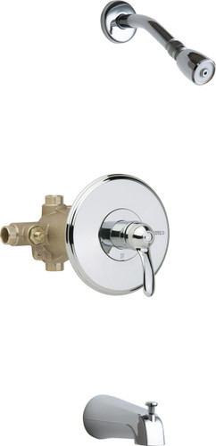 Chicago Faucets (1905-CP) Thermostatic Pressure Balancing Tub and Shower Valve with Shower Head and Diverter Tub Spout