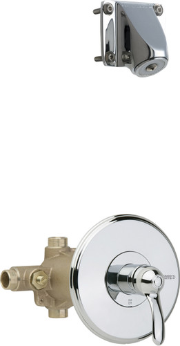 Chicago Faucets (1907-621CP) Thermostatic Pressure Balancing Tub and Shower Valve with Shower Head