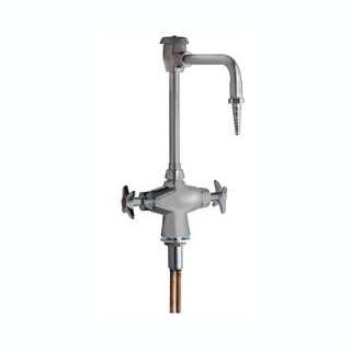 Chicago Faucets (930-SAM) Hot and Cold Water Mixing Faucet with Vacuum Breaker and Chemical Resistant Satin Antimicrobial Finish