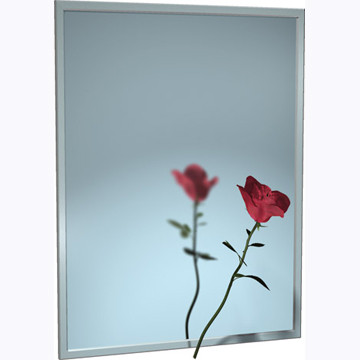 """ASI (10-0620-2018) Mirror - Stainless Steel, Chan-Lok Frame - Plate Glass -  20""""W X 18""""H"""
