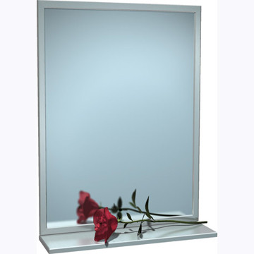 "ASI (10-0605-2430) Mirror - Stainless Steel, Inter-Lok Angle Frame w/ Shelf - Plate Glass - 24""W X 30""H"