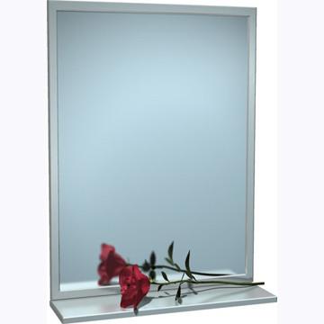 "ASI (10-0605-2436) Mirror - Stainless Steel, Inter-Lok Angle Frame w/ Shelf - Plate Glass - 24""W X 36""H"