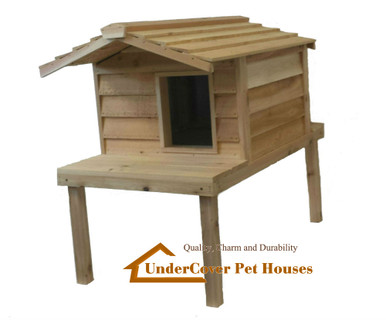 Large Insulated Cedar Cat House with Lounging Deck and Extended Roof
