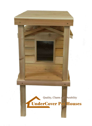 Small Insulated Cedar Cat House with Platform and Loft