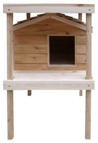 Large Insulated Cedar Cat House with Platform and Loft