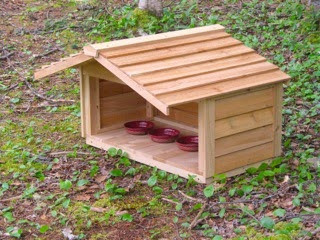 Medium Feeding Station with Extended Roof (bowls not included). Matches our outdoor cat houses.
