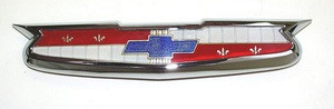 THIS IS FOR A 1955 CHEVROLET HOOD PLASTIC EMBLEM AND CHROME BEZEL ASSEMBLY. THIS IS MADE IN THE USA. THIS EMBLEM IS JEWELERY QUALITY AND IS THE BEST QUALITY EMBLEM AVAILABLE. SKU 8200