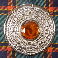 Plaid Brooch with Topaz Stone