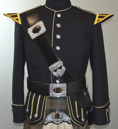 Military Doublet Black and Gold with Silver Buttons