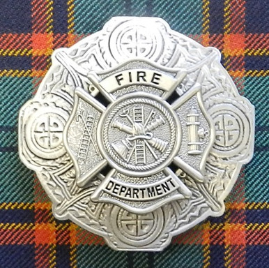Fire Department Plaid Brooch Antique