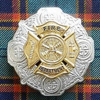 Fire Department Plaid Brooch (Gold on Chrome)