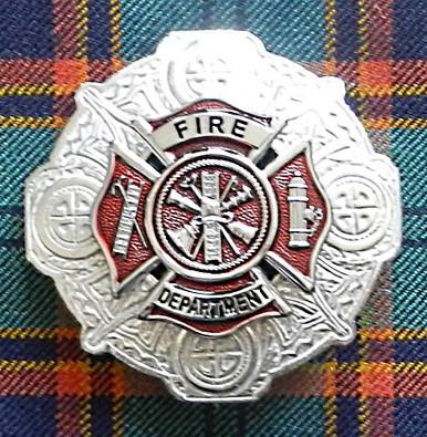 Fire Department Plaid Brooch (Red Enamel)