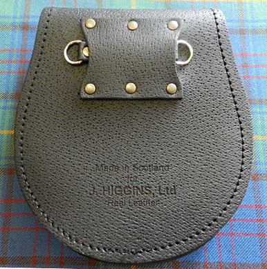 Back View of Sporran w/ Knot Snap and Embossed Leather