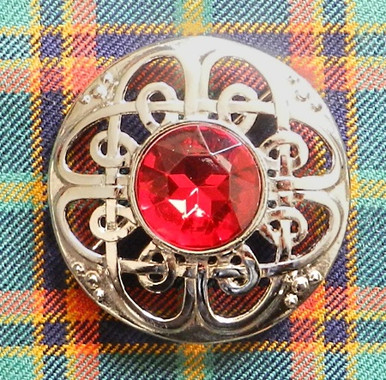 Scottish Brooch with Red Stone
